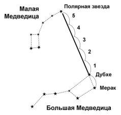 Определение сторон света по полярной звезде